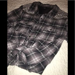 Flannel shirt with embellishments